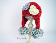 Crochet Sweet Heart Hat Pattern - B. Crochet Headband Free, Newborn Crochet, Crochet Baby Hats, Crochet Gifts, Free Crochet, Knit Crochet, Irish Crochet, Crochet Style, Free Knitting