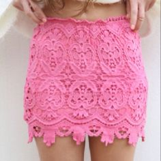 Hot pink lace skirt don't know that i could pull it off. but super hot! Looks Style, Style Me, Pink Lace Skirt, Eyelet Skirt, Fitted Skirt, Look Fashion, Womens Fashion, Skirt Fashion, Spring Fashion