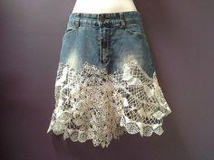 denim mini skirt, bohemian hip skirt, denim crochet over skirt, cream vintage doilies, shabby boho chic, festival clothing, blue denim belt