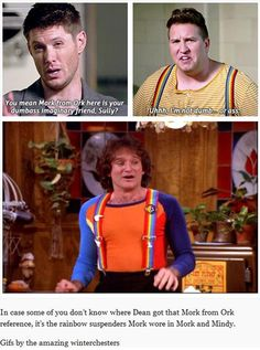 about Mork from Ork reference LOL #Dean Winchester #Sully #Supernatural 11x08 Just My Imagination