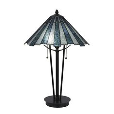 Toltec Lighting Any Brushed Nickel 23 in. Two-Light Table Lamp w/ Sea Ice Tiffany Glass in Dark Granite Black, Mission Table Lamp Base, Light Table, Tiffany Table Lamps, Dark Granite, Nightstand Lamp, Lamp Shade Store, Tiffany Glass, Transitional Wall Sconces, Cool Floor Lamps