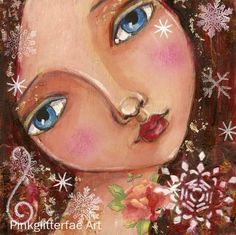 Girl with Snowflakes winter portrait Original Painting on wood panel. $45.00, via Etsy.