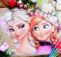 Find images and videos about art, drawing and disney on We Heart It - the app to get lost in what you love. Frozen Drawings, Easy Disney Drawings, Disney Drawings Sketches, Copic Drawings, Disney Princess Drawings, Frozen Fan Art, Anna Frozen, Color Pencil Sketch, Disney Paintings