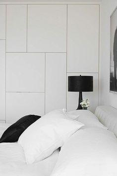 White color wooden closet doors in the modern bedroom by sashd Modern Basement, Basement Bedrooms, Basement Remodel Diy, Basement Remodeling, Placard Design, Wooden Closet, Built In Wardrobe, Closet Doors, Bedroom Storage