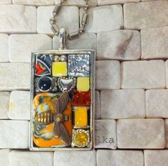 Yellow and Black Bohemian Mosaic Pendant by LauraKAiken on Etsy, $45.00