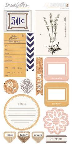 Teresa Collins Designs Life Emporium Elements Die Cut spaanplaat Stickers