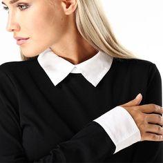 Schwarzes Kleid mit weißem Bubikragen - Jetzt reduziert bei Lesara