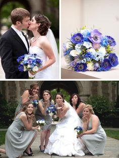 Blue Brides Bouquet with Anemone