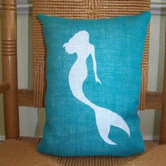 Mermaid pillowBeach decor Ocean pillow by KelleysCollections