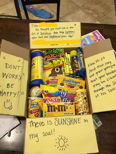 Gift Baskets For Boyfriend Box Of Sunshine - Gift Cute Birthday Gift, Birthday Gifts For Best Friend, Birthday Box, Best Friend Gifts, Birthday Presents, Birthday Gift Baskets, Best Friend Valentines, Birthday Ideas, Birthday Gifts For Brother