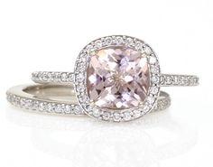 14K Cushion Morganite Engagement Ring  Wedding Band by RareEarth