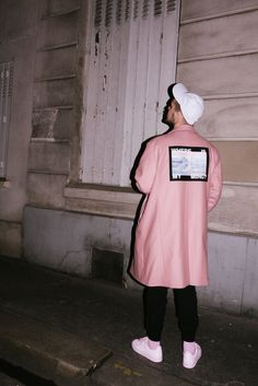 Pink jacket, pink socks and pink stan smith by Raf Simons