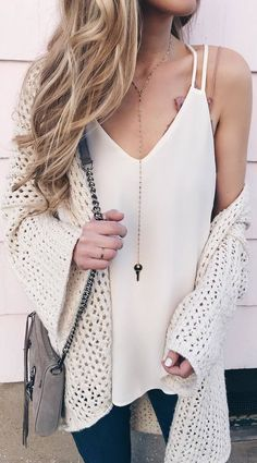 #winter #outfits white top, jeans, knitted cardigan