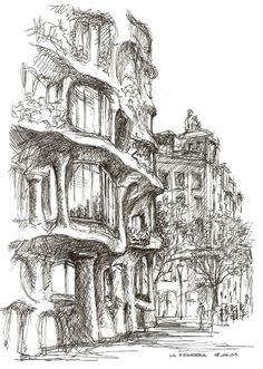 http://www.mysketches.co.uk Barcelona La Pedrera, by Ian Stuart Campbell