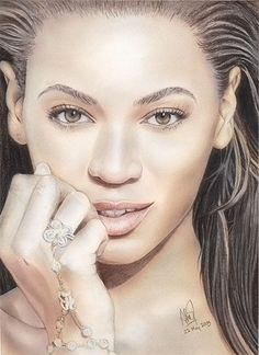 Beyonce 1 by riefra on deviantART~ pencil portrait colored in photoshop ~ artist Arief Kurniawan