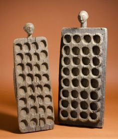 Two mancala boards Tabwa and Luba peoples DR Congo Guibert Hairson collection