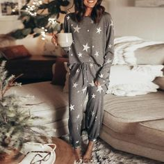 Prokty Casual Star Print Long Sleeve Top And Lace-Up Lounge Pants Set Cute Pajama Sets, Cute Pajamas, Cute Pjs, Pajamas Women, Comfy Pajamas, Vs Pajamas, Lounge Outfit, Lounge Pants, Lounge Wear