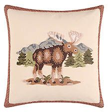 """Moose Hooked Pillow 18"""" x 18"""""""