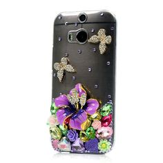 Handmade Floral Bow Crystal Bling Phone Case for HTC Htc Phone Cases, Mobile Cases, Protective Cases, Shells, Sparkle, Bling, Bows, Crystals, Floral