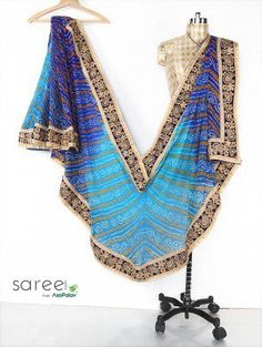 Light Blue and Navy Blue Georgette Saree with Zari and Stone Work