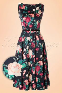 Lady V by Lady Vintage - 50s Hepburn Floral Swing Dress in Black