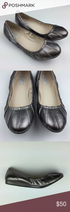 Cole Haan Ballet Flats Metallic Pewter Monique
