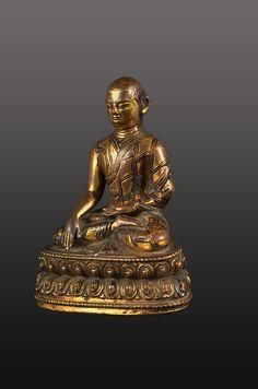 Lama  Tibet 14 - 15th century Bronze, gilding 11 cm