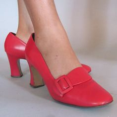 vintage 60s Mod CHERRY RED Shoes with Oversized Buckle