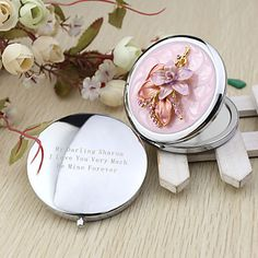 Personalized Nice Flower Chrome Compact Mirror Favor – GBP £ 5.10
