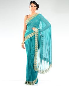 Embellished Peacock Teal Blue Sari  so wanting to save up for one like this