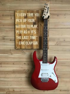 Guitar Wall Hanger, Eric Clapton Quote in 2020 Guitar Storage, Guitar Display, Acoustic Guitar Case, Guitar Stand, Guitar Wall Hanger, Hang Guitar On Wall, Wall Workout, Wonderful Day, Music Studio Room