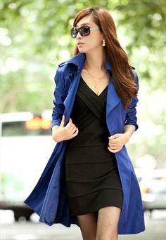 blue trench coat fashion unique elegant final sale S070