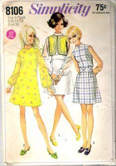 "Vintage 1969 Simplicity 8106 Mod Dress & Bolero Sewing Pattern Size 11 / 12 Bust 32"" by Recycledelic1 on Etsy"