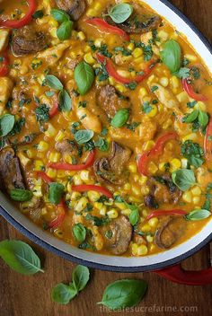 Roasted Corn and Chicken Coconut Curry - with lots of fresh, healthy veggies and crazy good flavor this curry is on our top recipe list!
