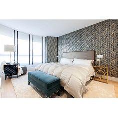 Bright eclectic bedroom looks more gorgeous because of gold nightstands. #rumahkubedroom