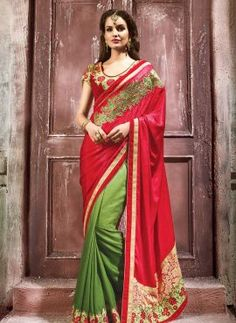 Maroon & Green latest floral embroidered half n half saree in crepe