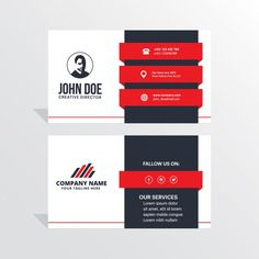 Modern black, white and red business card Free Vector Teacher Business Cards, Business Cards Layout, Free Business Card Templates, Elegant Business Cards, Free Business Cards, Business Card Design, Id Card Template, Theme Template, Graphic Design Tips
