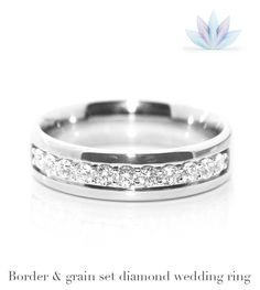 Diamond wedding rings, particularly those channel and grain set, in wider designs, are particularly enhanced by the addition of slightly larger diamond sizes, that fill out the breadth of the ring. This design can be fully customised with any extent of diamonds, shown here as a half set band.