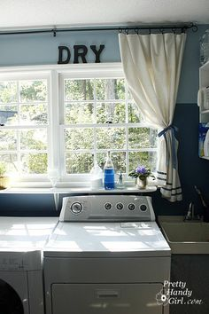 Ideas for laundry room: paint wooden letters WASH/DRY install shelf so I can put plants on the shelf instead of the more narrow window sill Shelf over laundry tub Room Makeover, Room, Home, Laundry Tubs, Pantry Laundry Room, Laundry Room Makeover, Laundry, Diy Laundry Detergent, Laundry Room Paint
