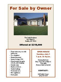 Sample House For Sale Flyer Kleobeachfixco - For sale by owner house flyer template