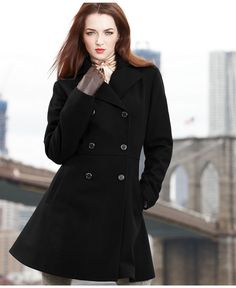 Anne Klein Coat, Double-Breasted Empire-Waist Wool-Blend - Womens Coats - Macy's