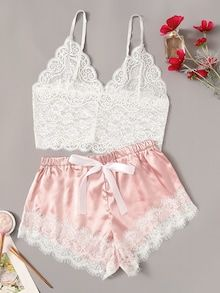 COLROVIE Floral Lace Cami Top With Satin Shorts Lingerie Set Women 2019 Summer Sexy Sets Ladies Bra And Panty Underwear Set - Underwear for women - Ideas of Underwear for women Lingerie Look, Jolie Lingerie, Lingerie Outfits, Lace Lingerie Set, Pretty Lingerie, Women Lingerie, Princess Lingerie, Lingerie Shorts, Lingerie Dress