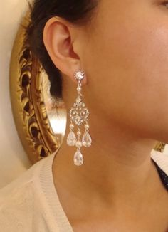 Art Deco Chandelier Bridal Earrings Pearl & Crystal by luxedeluxe, $82.00