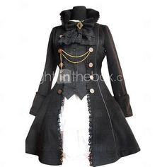Long Sleeve Flanel Black Gothic Lolita Coat - US$ 119.99