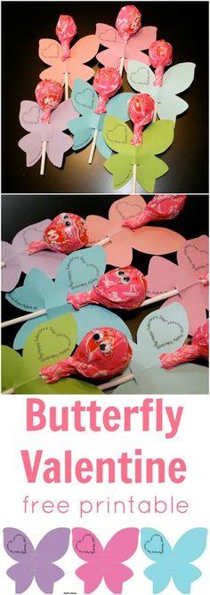 Butterfly Lollipop Valentine   Free Printable www.weheartparties.com