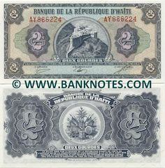 Haitian Currency. On front is Citadelle Lafeerrie Christoph. On back is a coat of arms. Cannons, flags, trumpets. To show that Haiti ready for danger if it enters there country.