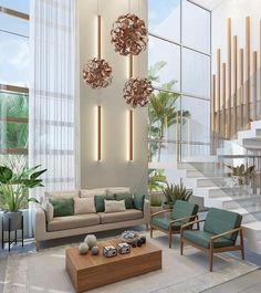 High Ceiling Living Room, Big Living Rooms, Elegant Living Room, Elegant Home Decor, Living Room Decor, Bedroom Decor, Home Stairs Design, Home Room Design, Modern House Design