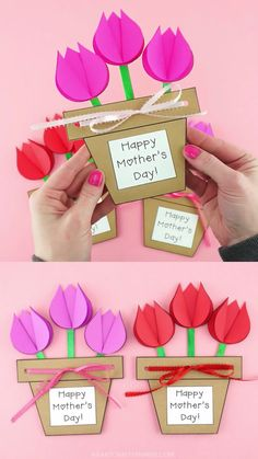 If you're looking for a gorgeous Mother's Day gift for kids to make this year, this Mother's Day flower pot craft can't be topped. Our template makes the flower pot an easy kids craft to make and mom or Grandma will adore the special message hidden inside the pot when she opens it up on her special day. #iheartcraftythings