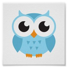 Cute round stickers featuring a cartoon illustration of a little blue baby owl. The small ones cane be used as envelope seals for birthdays or owl themed baby shower invitations. More owl stickers: Cartoon Owl Drawing, Cute Owl Cartoon, Baby Cartoon, Cartoon Pics, Child Draw, Gaspard, Owl Illustration, Owl Pet, Owl Pictures