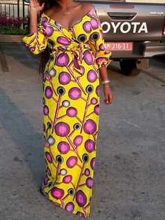 Sum All Chic, Shop Yellow Polka Dot Sashes Off Shoulder Floor Length African Party Maxi Dress online. Latest African Fashion Dresses, African Dresses For Women, African Print Fashion, Fashion Prints, Fashion Patterns, Prom Party Dresses, Mantel, Skirt, Blouse